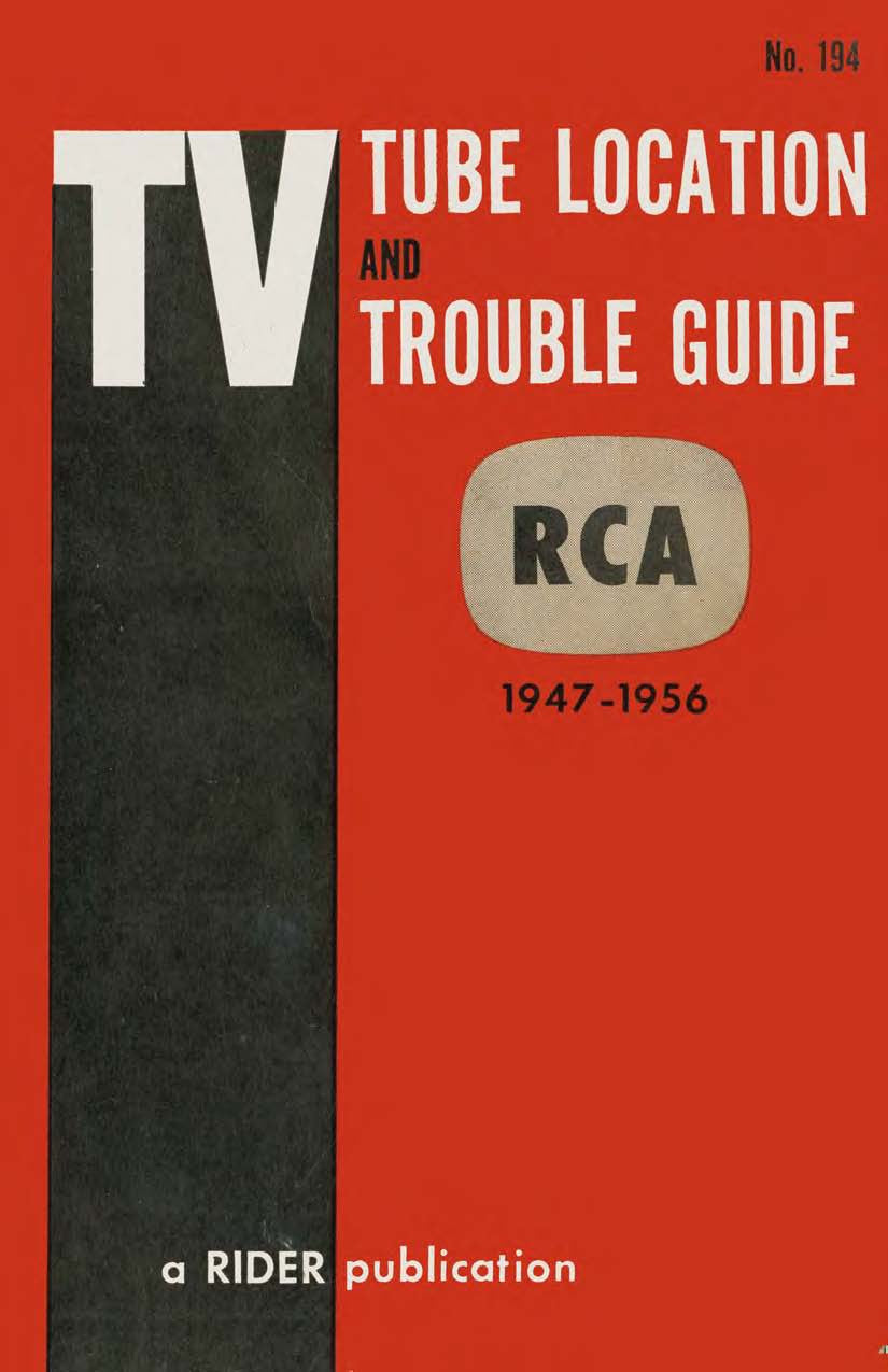 RCA TV Tube Location and Trouble Guide