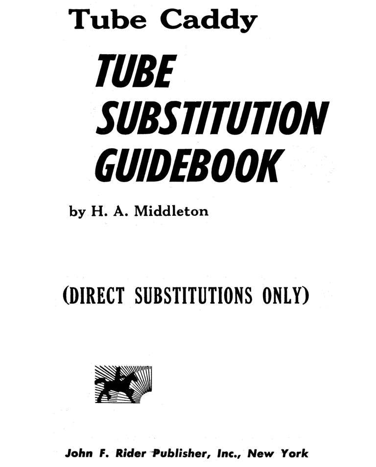 Tube Caddy Tube Substitution Handbook