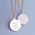 Best Day Ever Balloon Gold Enamel Necklace