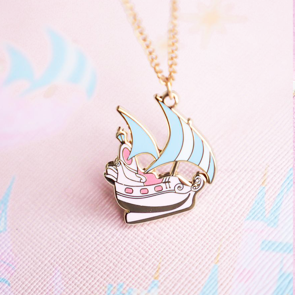 Neverland Pirate Ship Gold Enamel Necklace