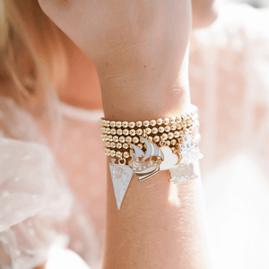 Clouds Charm Bracelet | 14k Gold Beads