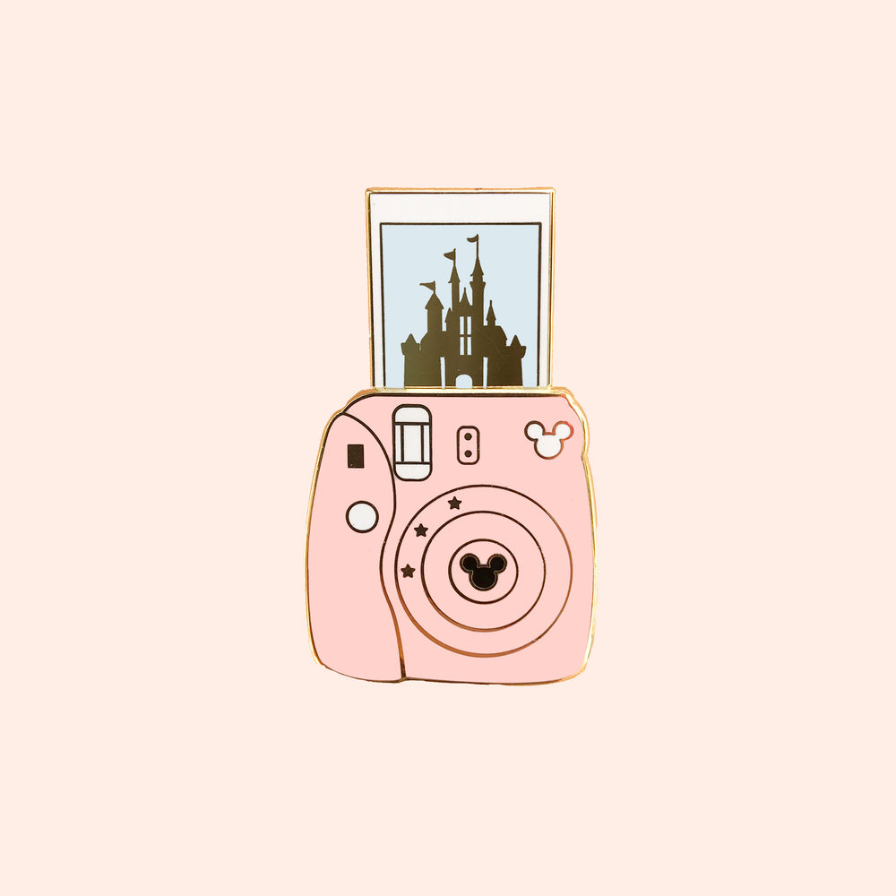 Camera Castle Sliding Gold Enamel Pin