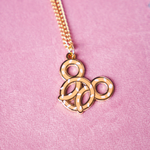 Pretzel Gold Enamel Necklace