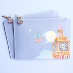 Off to Neverland Blue Leather Pouch Bag