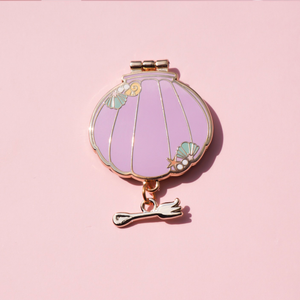 Mermaid Shell Compact Mirror Gold Enamel Pin