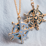 Captain's Wheel Spinning Gold Enamel Necklace