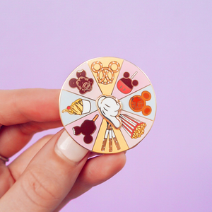 Snack Spinner Gold Enamel Pin