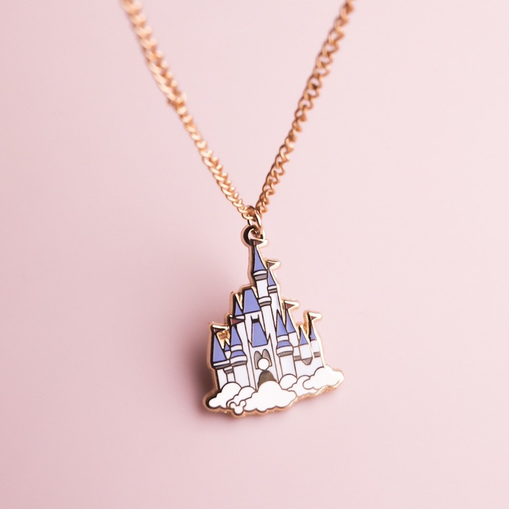 Castle Gold Enamel Necklace