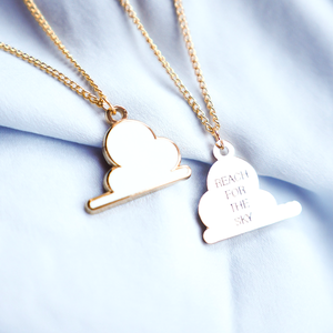 Cloud Reach for the Sky Gold Enamel Necklace