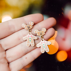 Gingerbread Mouse Gold Drop Earrings