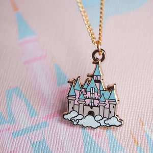 Sleeping Beauty's Castle Gold Enamel Necklace