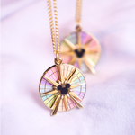 Fun Wheel Spinning Gold Enamel Necklace