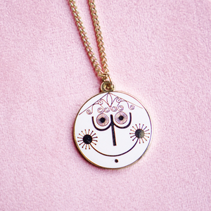Small World Clock Gold Enamel Necklace