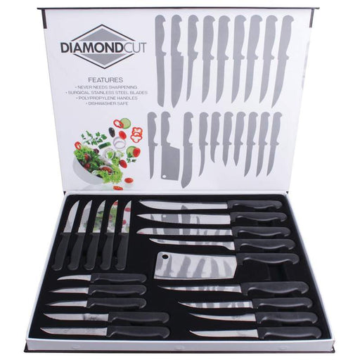 Diamond Cut 19PC Cutlery Set in Color Magnetic Closure Box