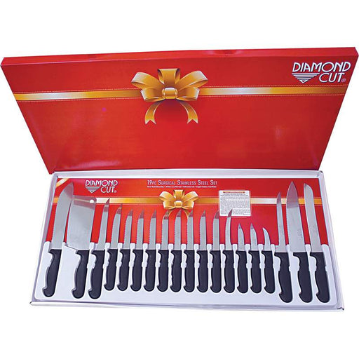 HIGH -END Diamond Cut 19pc Cutlery Set in White Limited lifetime warranty - King of Products