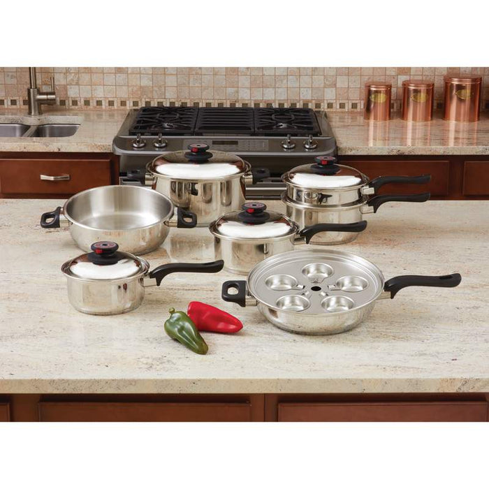 World's Top  7-Ply Steam Control™ 17pc T304 Stainless Steel Cookware Set