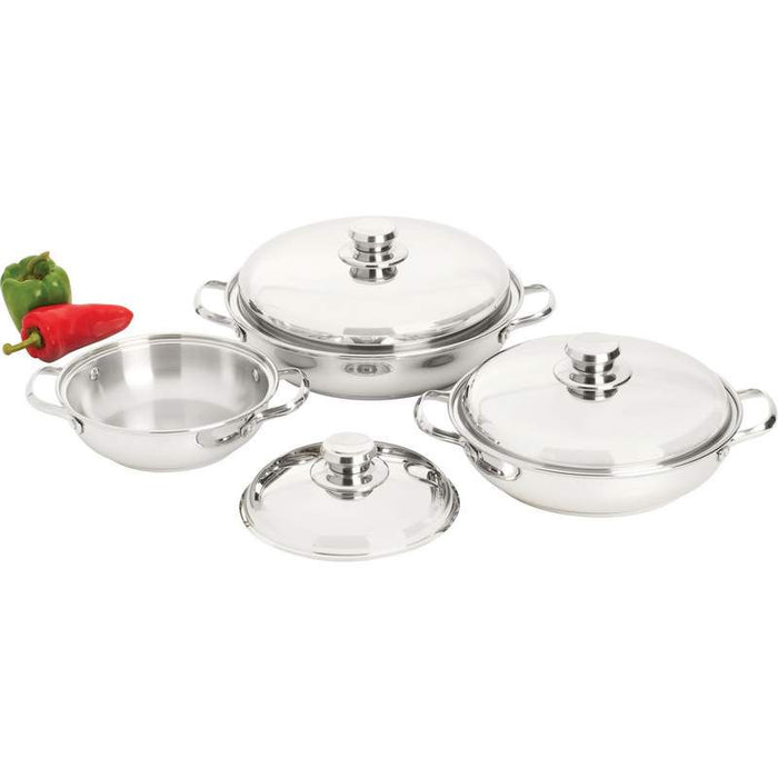 Stainless Steel Interior and Exterior 6pc 12-Element Sauté Set