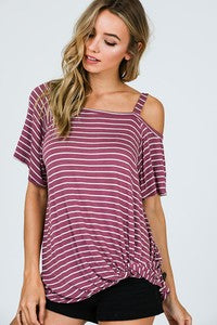 Plum/Cream Stripe Top