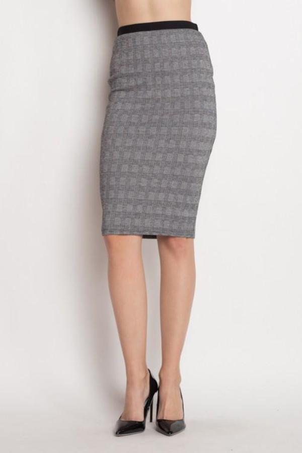 Black and Gray Plaid Pencil Skirt