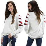 White Long Sleeve Buffalo Plaid cut up Tee