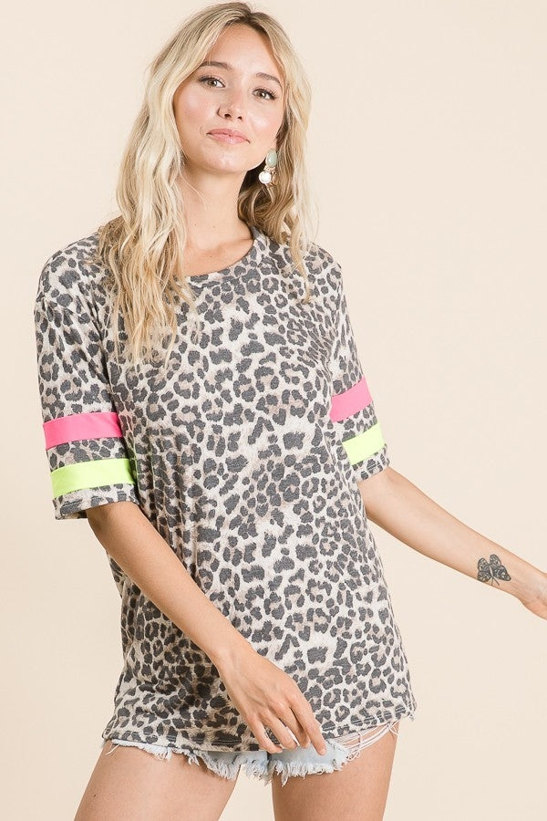 LEOPARD PRINT TOP WITH NEON CONTRAST BAND