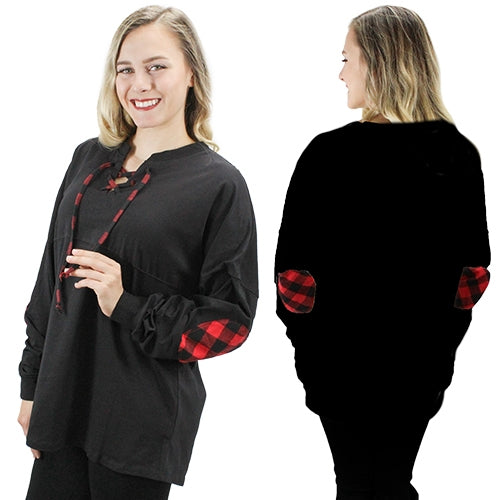 Black Buffalo Plaid Lace Up Spirit Jersey