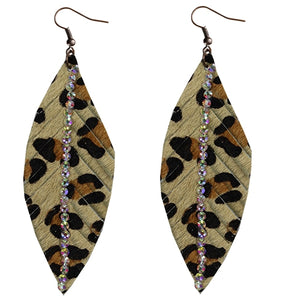 Leopard Feather Crystal Earrings