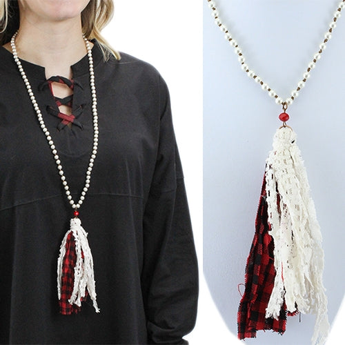 Buffalo Plaid and Lace Tassel Necklace