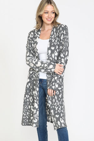 LONG LEOPARD PRINT OPEN CARDIGAN WITH POCKETS