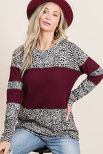 CHEETAH & SOLID COLORBLOCK WAFFLE KNIT TOP