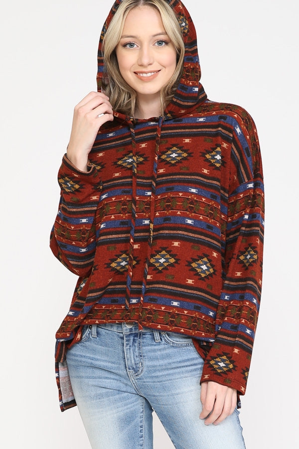 AZTEC PRINT HOODIE TOP WITH DRAWSTRINGS & SIDE SLITS