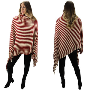 Red Striped Poncho