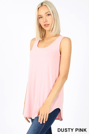 DUSTY PINK SLEEVELESS ROUND NECK & ROUND HEM TOP