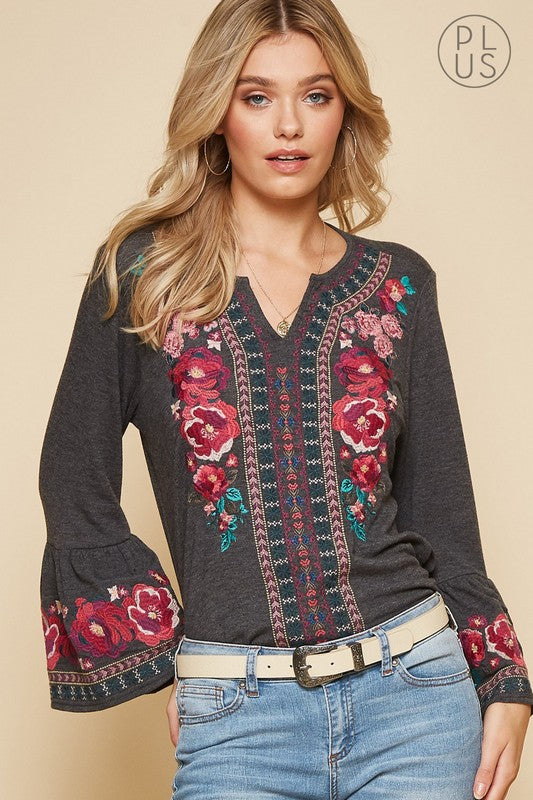 Charcoal long sleeve embroidery top Plus Size