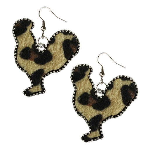 Chicken Leopard Hide Earrings