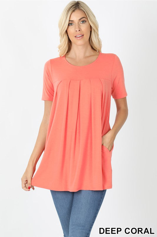 DEEP CORAL SHORT SLEEVE ROUND NECK PLEATED TOP