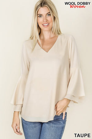 TAUPE WOVEN WOOL DOUBLE LAYERED BELL SLEEVE TOP