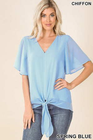 SPRING BLUE WOVEN DOUBLE LAYER FRONT TIE TOP