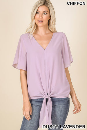 DUSTY LAVENDER WOVEN DOUBLE LAYER FRONT TIE TOP