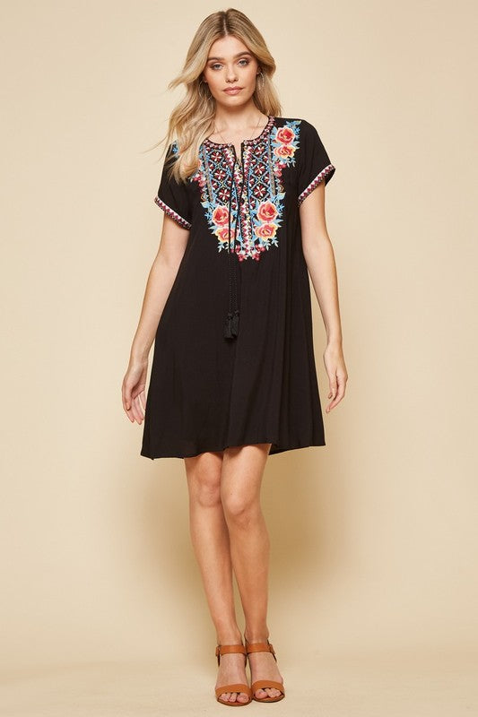 Black dress w multi color embroidery