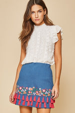 Denim embroidery mini skirt