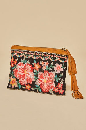 Black clutch with floral embroidery