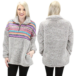 Brown Grey Serape Leopard Sherpa with Pockets