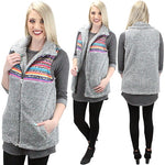 Dark Grey Serape Leopard Sherpa Vest with Pockets