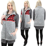 Buffalo Plaid/Gray Sherpa Vest