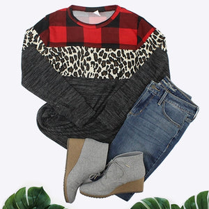 Buffalo Plaid and Leopard Color Block Top