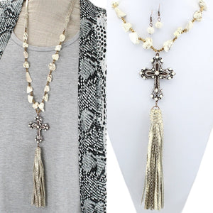 Cross necklace with white stones