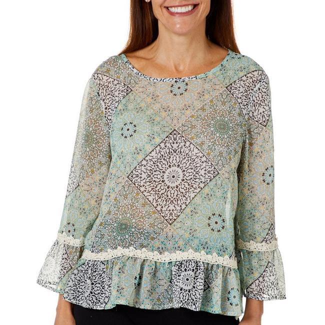 Lt. Green Sheer Patchwork Lace Trim Top