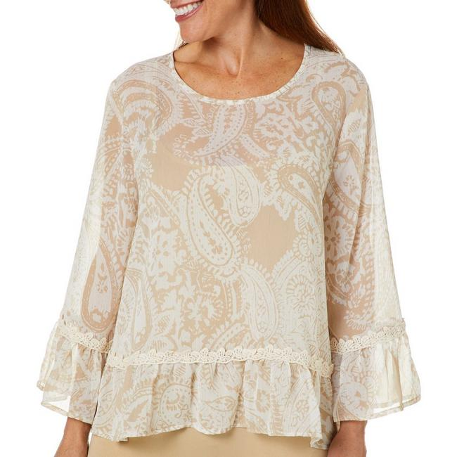 Beige Floral Tiered Top