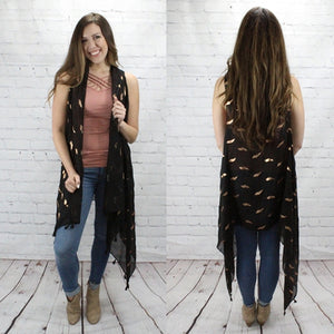 Black Sheer Vest with Gold Feathers